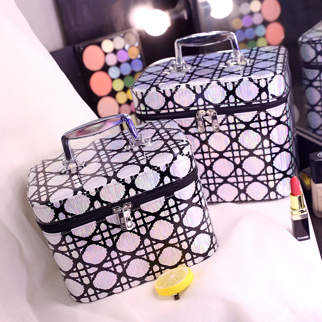 4 colors 2 size Korean style fashion Trunk cosmetic bag large capacity make up bag waterproof Plaid storage bag