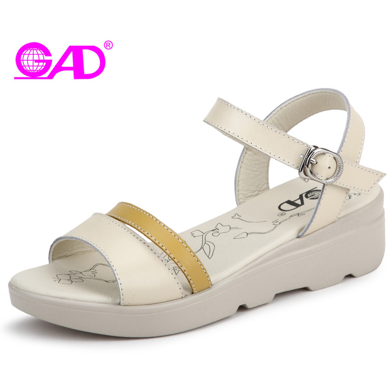 GAD Platform Women Sandals Summer New Style Fashion Metal Buckle Women Wedges Sandals Middle Heels Women Shoes Leather Sandals new women sandals low heel wedges summer casual single shoes woman sandal fashion soft sandals free shipping