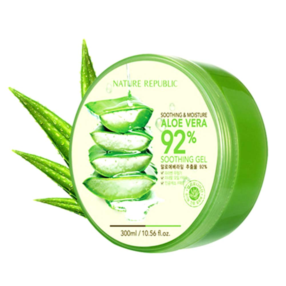 Original Korea Cosmetics Nature Republic Aloe Vera 92 Soothing Gel Jar 300 Ml 300g 100 Pure Natural Wrinkle Removal Moisturizing Anti Acne Sensitive