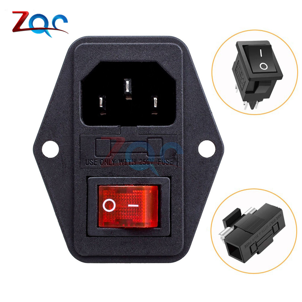 AC 10A 250V 4pin Rocker Switch Fused IEC320 C14 Male Inlet Cord Power Socket Switch Connector 3pin Plug Connector W/ 10A Fuse