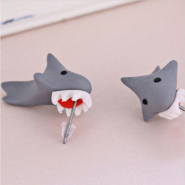 a13e43c79 1Pair New 100% Handmade Polymer Clay Cute Shark Earrings For Women Ear Stud  Earring Jewelry Brincos Creative