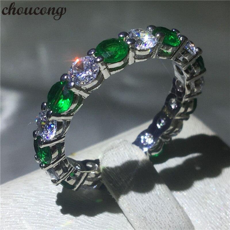 Choucong bague éternelle 4mm vert 5A Zircon Cz 925 en argent Sterling bague de fiançailles pour femmes hommes bijoux d'anniversaire