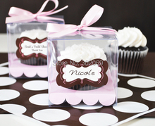 9x9x9cm Clear plastic cake box Single Cupcake Boxes With sticker included colors insert 24pcs