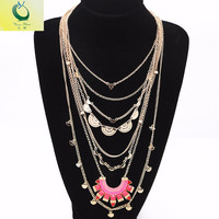 2016 Fashion Accessories Manufacturers Selling Exaggeration Red Blue Enamel Multilayer Statement Necklace Chain Maxi Necklace