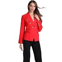 브랜드 새로운 유럽 미국 여성 우아한 활주로 슬림 정장 재킷 더블 브레스트 버튼 레드 재킷 작업복 재킷