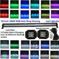 Honzdda 50 Inç Led Işık Bar Offroad 288 W 12 Katı Renk Değiştirme Halo Işık Çubuğu with2pcs halo yüzük Gömme Montaj Led Çalışma işık
