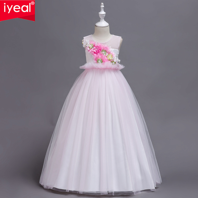 IYEAL New Floral Kids Party Dresses for Wedding Princess Dress Girl Children Clothing Girls Clothes Party Costume with Flowers baby girls princess dress summer style floral kids clothes with bow belt flower girl wedding dresses for party children costume