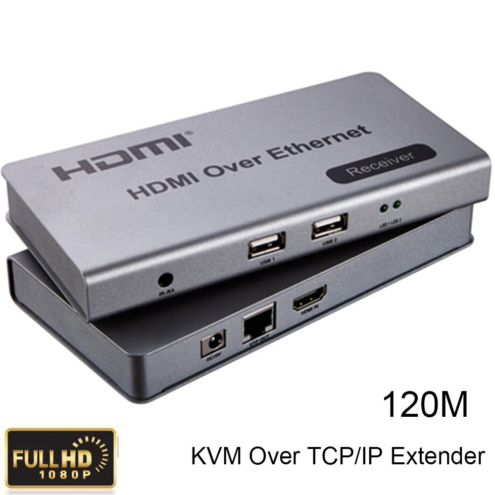 HDMI KVM Over TCP/IP Extender Up To 120m CAT5e/6 Cable Connect Receiver Transmitter to HDTV 1080P HDMI 1.3/HDCP1.1&1.2 best price new usb utp extender adapter over single rj45 ethernet cat5e 6 cable up to 150ft