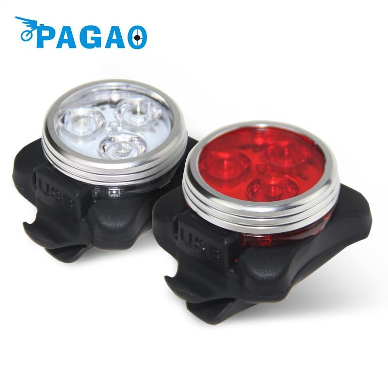 Pagao практические Велоспорт велосипед 3 светодиодный голова передний задний хвост свет Перезаряжаемые Батарея с зарядка через USB кабель 2 Цвет доступны