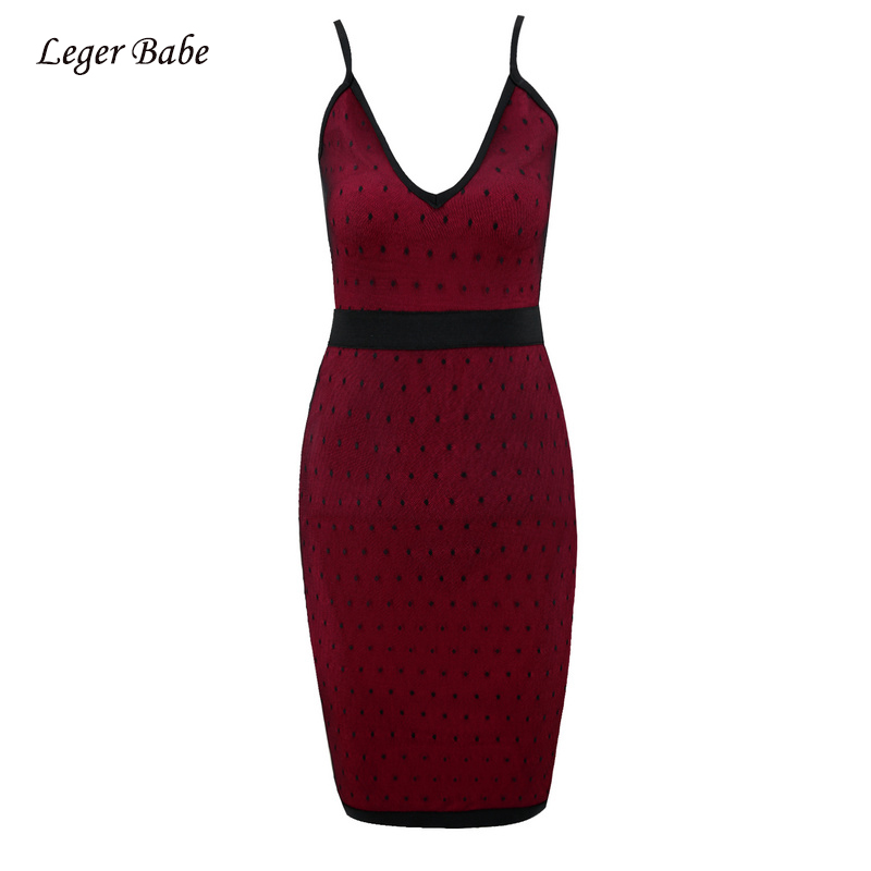 Leger Babe HL Wine Red Sexy Women Spaghetti Strap V Neck Lace Bodycon Nightclub Party Slim Bandage Dress Wholesale Dropshipping ...