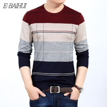 E-BAIHUI new O-Neck Pullover Men Brand Clothing 2019 Autumn Winter Cashmere Wool Sweater Casual Striped Pull 156621