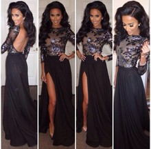 Hot&Sexy Boat Neck Long Sleeve Lace Sequins High Slit Black Chiffon Backless Prom Dresses zy1189