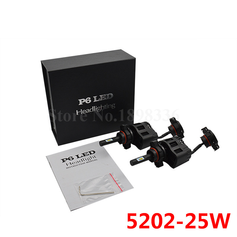 2pcs Car styling P6 <font><b>5202</b></font> <font><b>LED</b></font> Headlight Bulbs Bright White 6000K Car Styling Replacements Conversion Kit 3200LM 25W