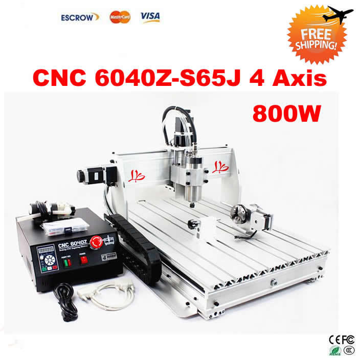 Free Shipping! 4 Axis CNC Router 6040 Z-S65J milling lathe machine with 800W VFD spindle, rotary axis for 3d cnc russia tax free 3d woodworking cnc router cnc 6040 4 axis cnc milling machine with spindle 500w