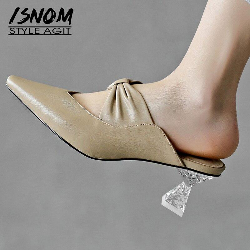 Mujer Vaca Isnom Sandalias Alta apricot Diapositivas Calzado Punta Zapatillas Plisado Negro De Zapatos Moda Cristal Cuero Tacones xqCwrqXz
