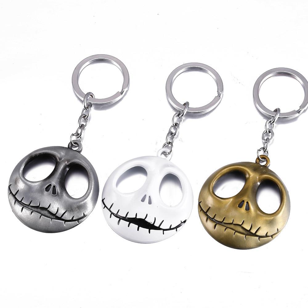 Movie Jewelry The Nightmare Before Christmas Pumpkin King Santa Jack Keychain Skull Head Skellington Men Key Chain