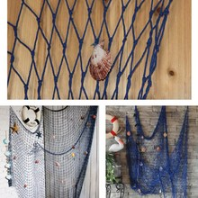 Nautical Fishing Net Decorative Seaside Wall Beach Party Sea Shell Fishing mesh Mediterranean Decor Wall sticker 100cm x 200cm