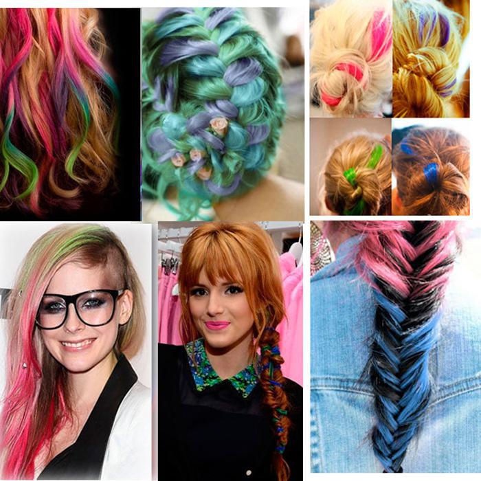 Multi Colored Clip In Hair Weaving Extension Synthetic Ombre
