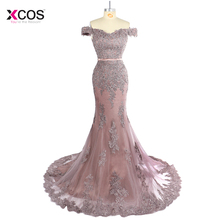 Dusty Pink Off the Shoulder Mermaid Evening Dress Long 2019 Lace Appliques Beads Formal Trumpet Prom Gown Robe de Soiree Longue