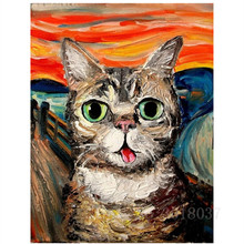 Diamant Diy 5D Diamond Painting Cross Stitch Hungry Cat Needlework 3D Embroidery Full Decorative Stickers Kits