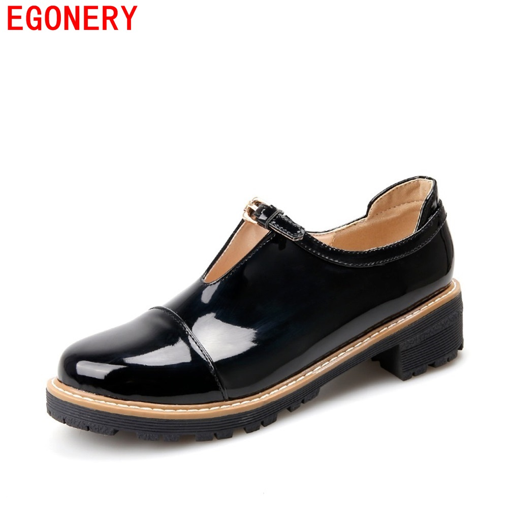 EGONERY Spring Casual Low Heels Round Toe Patent Leather Lady Pumps Slip on Rubber Sole Vintage Womens Shoes Plus Size 33 egonery new sweet lady round toe faux leather slip air spring dress women pumps heels shoes plus size us 12