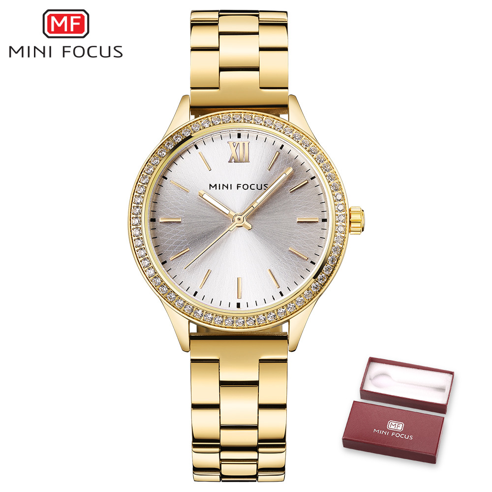 MINI FOCUS Top Brand Luxury Women Watches Quartz Golden Stainless Steel Strap Fashion Elegant Ladies Rhinestone Watch + Gift Box