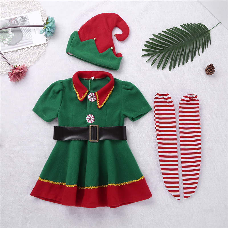 Kids Girls elf christmas Dress New Year Festival Dress with Hat Belt Tights Set for Xmas Cosplay Party Costume Dress UpKids Girls elf christmas Dress New Year Festival Dress with Hat Belt Tights Set for Xmas Cosplay Party Costume Dress Up