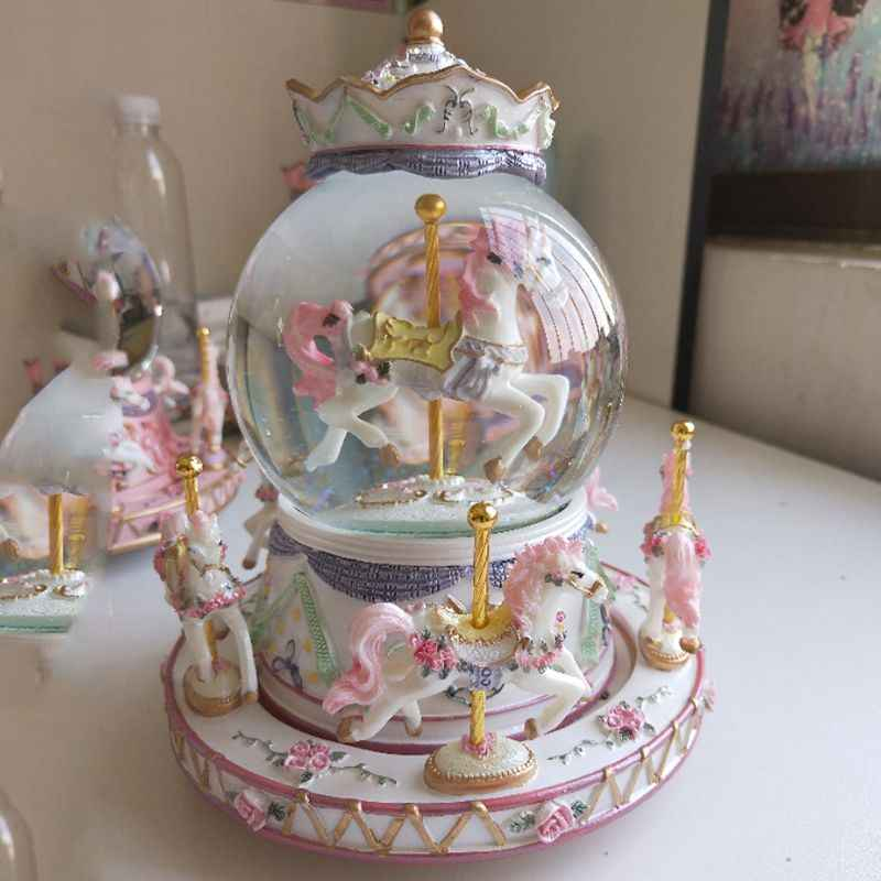 Rotate Music Box, Luxury Carousel Glass Ball Doll Miniature Dollhouse Toy with Castle in the Sky Tune Perfect for Bir