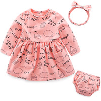 Spring Baby Girl Clothing Set Letter Giraffe Printed Dress Cotton Underwear Hairbands 3PCS Outfit Set Infant