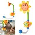 Crianças dos miúdos do bebê girassol brinquedo de banho torneira do chuveiro banho de água play aprendizagem toy presente