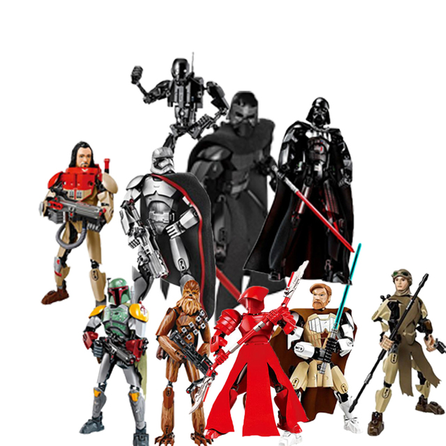 Star Series Space War 8 Last Jedi Boba Fett Figures Kylo Ren Phasma Chewbacca Royal Guard Rey Darth Vader toys building blocks
