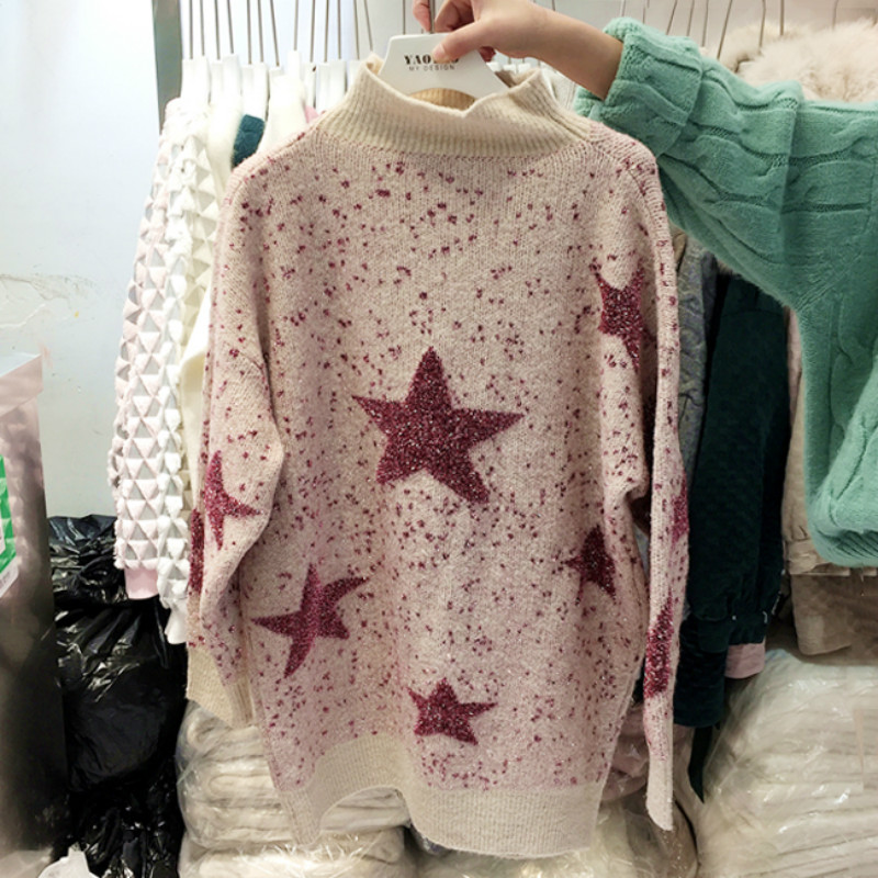 Autumn and Winter Academy Wind Five-pointed Star Print Sweater Women Fashion Mixed Bright Silk Long-sleeved Christmas Pullover