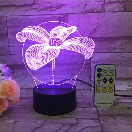 Flower Night Light 3D USB Touch Switch & Remote Control Acrylic Engrave 7 Color change Gradient Atmosphere Table Lamp Drop Ship