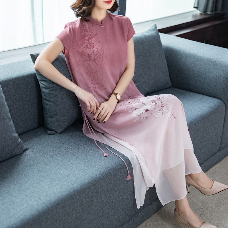 2020 Chinese Dress Cheongsam Qipao Cheongsam Modern Women Chiffon Gowns Vintage Printing Flower Women Long Qipao Vestido Dress