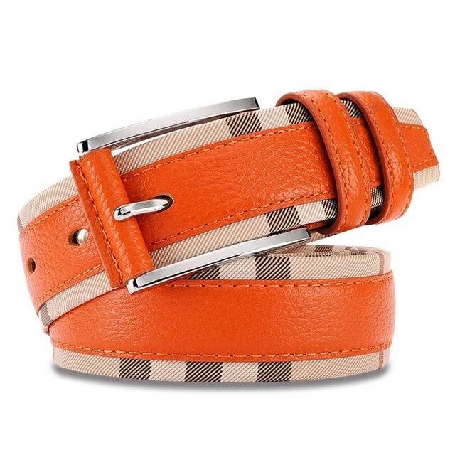 Wxh New Style Genuine leather Belt for men Fashion Vintage Male Pin Buckle Plaid men Belt Cinto macho Black White Orange Himunu