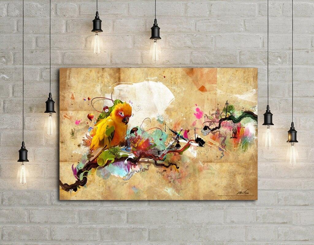 Abstract Artistic Parrot Art Silk Fabric Poster Wall Decor 12x18 ...