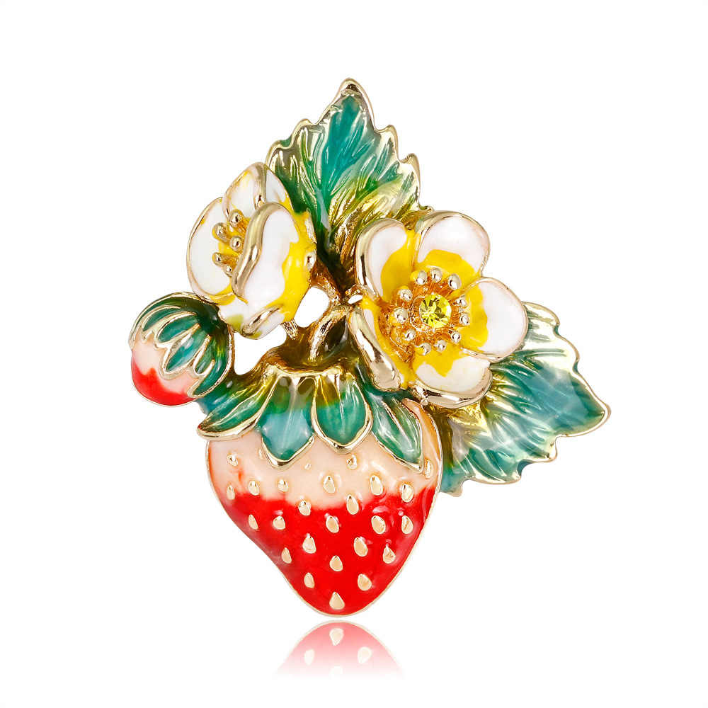 2018 Baru Hidup Buah Strawberry Bros Enamel Rhinestone Bros untuk Wanita Pin Korsase Perhiasan Grosir