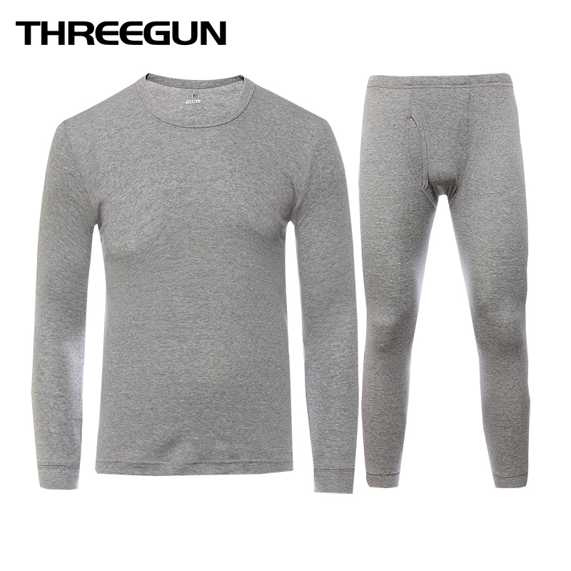 THREEGUN Long Johns Set For Men Womens Cotton Winter Round Neck Warm Ultra-Soft Solid Color Thin Thermal Underwear Men's Pajamas