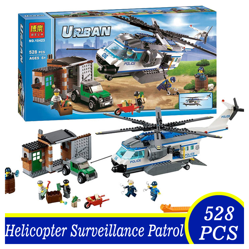 Bela 10423 528pcs Urban City Patrol Helicopter Surveilance Bricks Building Blocks Toys Children Kids Gift Compatible Lepin lepin 02012 city deepwater exploration vessel 60095 building blocks policeman toys children compatible with lego gift kid sets