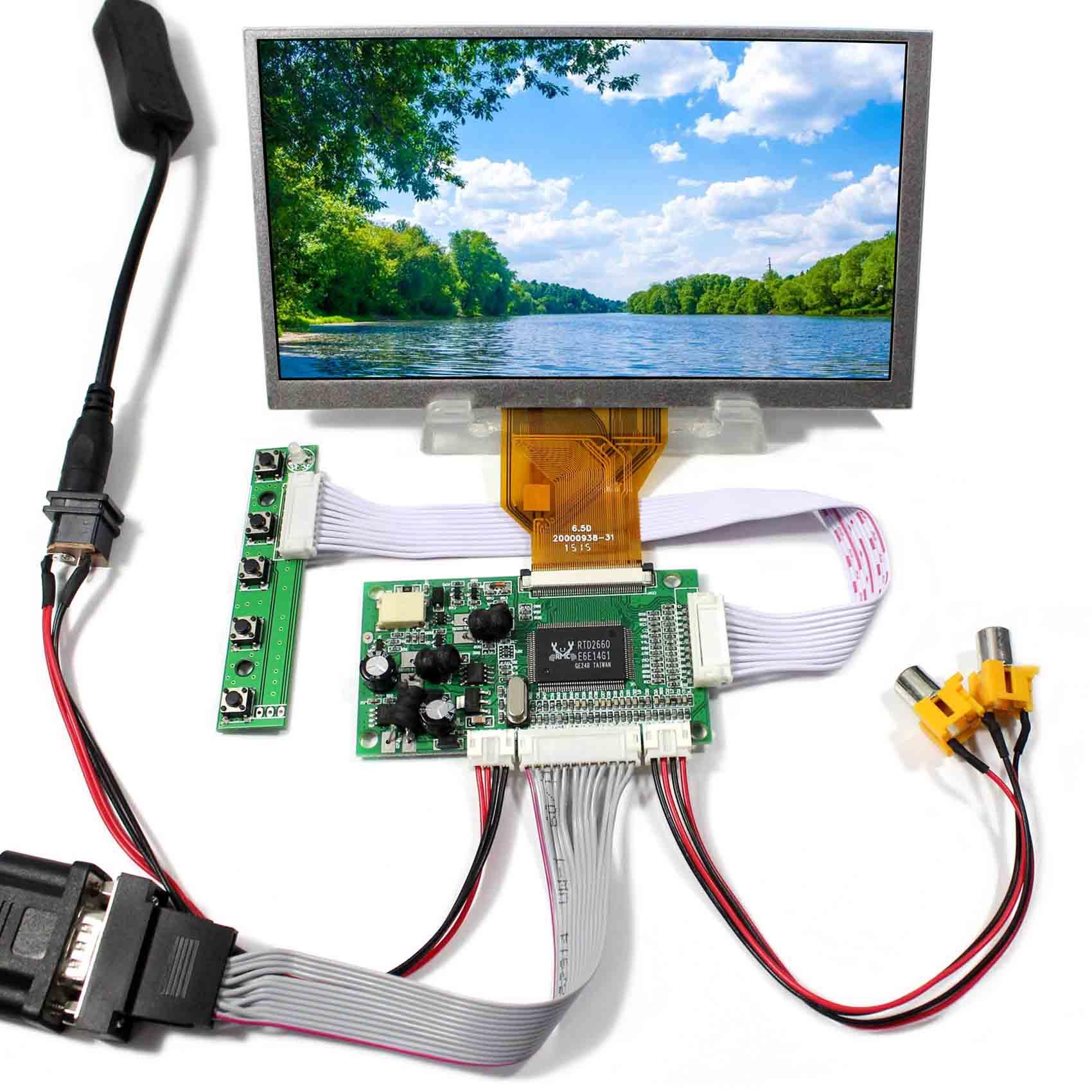 VGA+2AV Reversing LCD Driver Board+6.5inch 800x480 AT065TN14 LCD Screen vga 2av audio reversing lcd driver board 10 1inch n101bge 1366 768 lcd panel