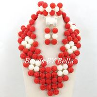 2015 Best Selling Red Wedding African Beads Jewelry Set White Nigerian Party Beads Necklace Set Fashion