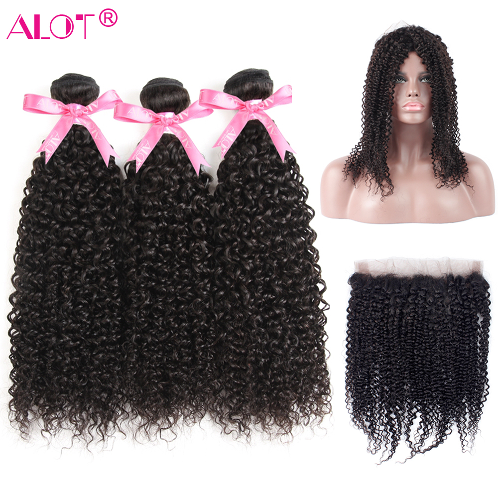 ALot Brazilian Kinky Curly Human Hair Bundles With 360 Lace Frontal Closure Non Remy 3 Bundles