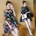 4xl mujeres más tamaño ropa 2016 verano estilo coreano Bohemio beach partido de tarde de impresión floja de las mujeres de dos piezas establece femenino A0779 a la