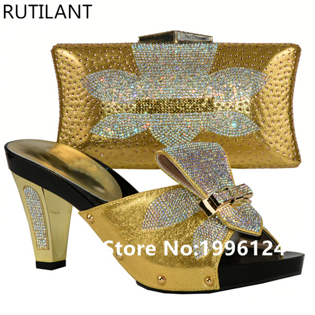 Shoes and Bag Set Gold Color African Shoes and Bag Sets for Women Italian Shoes with Matching Bags High Quality Wedding Shoe Bag