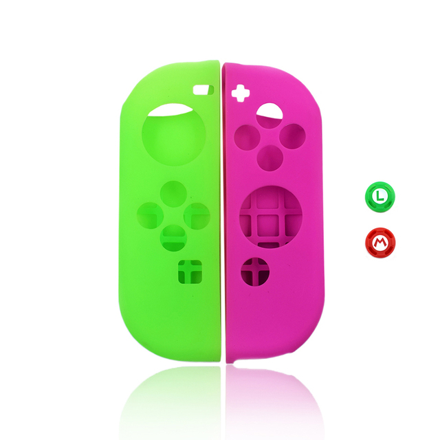 Dustproof Soft Silicone Protective Case Skin Cover for Nintend Switch NS Joy-Con Case&2 Analog Thumbstick Grips Joystick Caps 2