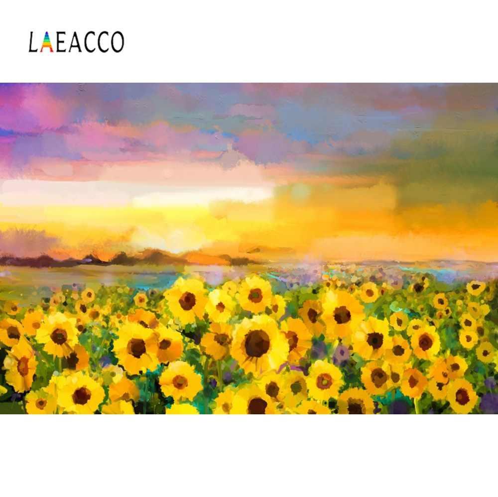 Laeacco 春ひまわり油絵壁紙家の装飾のパターン写真の背景写真の背景の