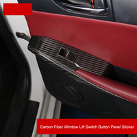QHCP 4Pcs/Set Carbon Fiber Door Window Lift Switch Button Panel Cover Trim Sticker Fit For Lexus IS300 250 200T Car Accessories
