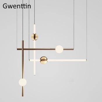 Modern Line Art Glass Pendant Lights Orion Tube Led Hanging Lamp for Living Room Loft Decor Industrial Kitchen Light Fixtures