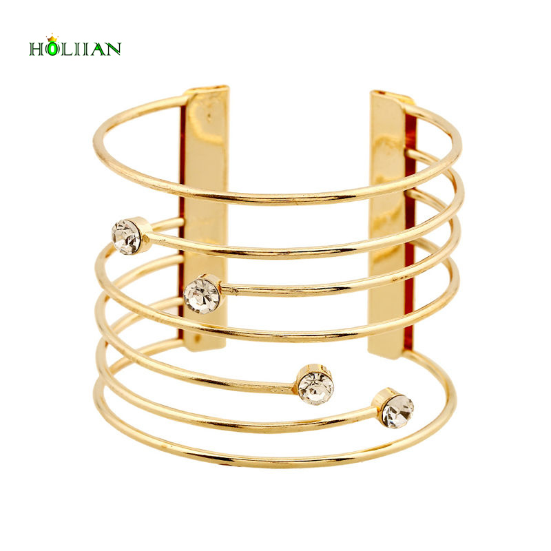 Hot new women crystal carter love bracelet&bangles wide wrap arm cuff silver Gold-color mujer jewellery pulseiras accessories