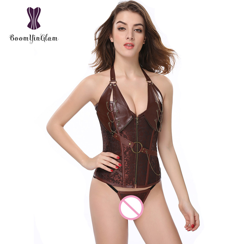 Free Shipping Front Zip Halterneck Gothic Faux Leather   Corset   Brown Steampunk Women Clothing Overbust   Corsets   &   Bustiers   908#